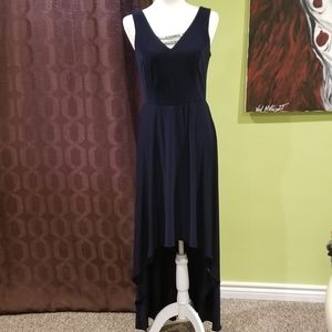 Navy High Low Dress With Rhinestone Details